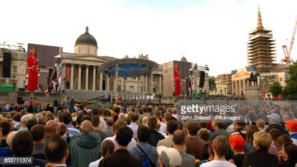 Spectators in London's Trafalgar Square gather to see the teams taking part in the Tour de France which starts in London with the prologue tomorrow