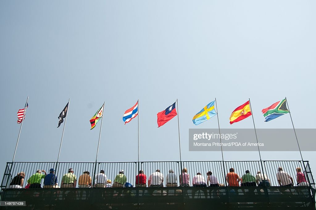 Spectators in the stands during the final round of play at the 72nd Senior PGA Championship Presented by KitchenAid at Valhalla Golf Club in Louisville, KY, USA, on Sunday, May 29, 2011.