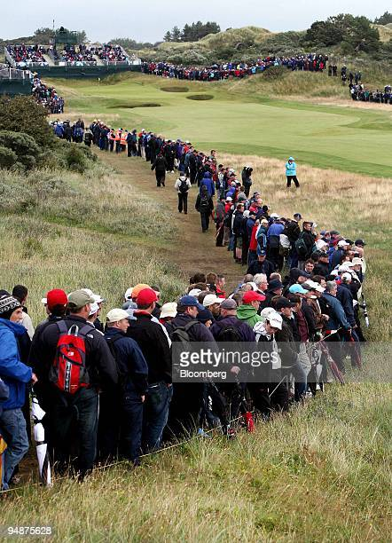 Spectators line the fairway of the 17th hole during day one of the British Open Championship at Royal Birkdale Lancashire UK on Thursday July 17 2008...