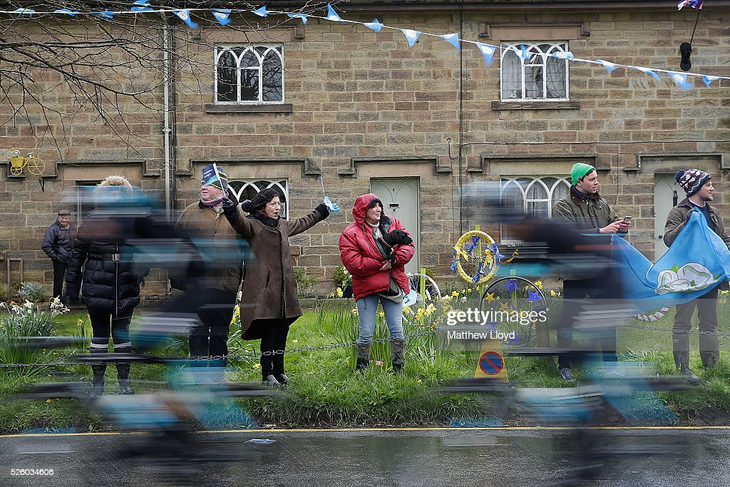 Spectators line the main street of Ripley as the riders of the Tour De Yorkshire cycle race pass on April 29, 2016 in Ripley, England. The first day of the race sees riders starting from Beverley in the East and racing 186km to Settle in the Yorkshire Dales.