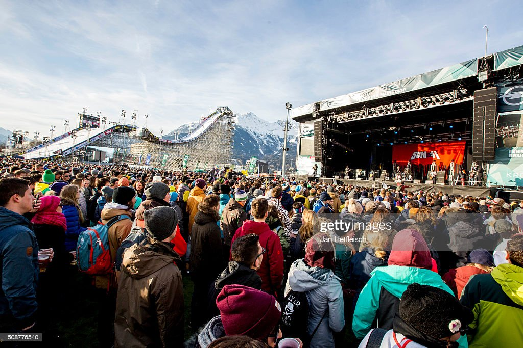 Spectators listen to band Sum41 during Air and Style Festival February 6, 2016 in Innsbruck, Austria.