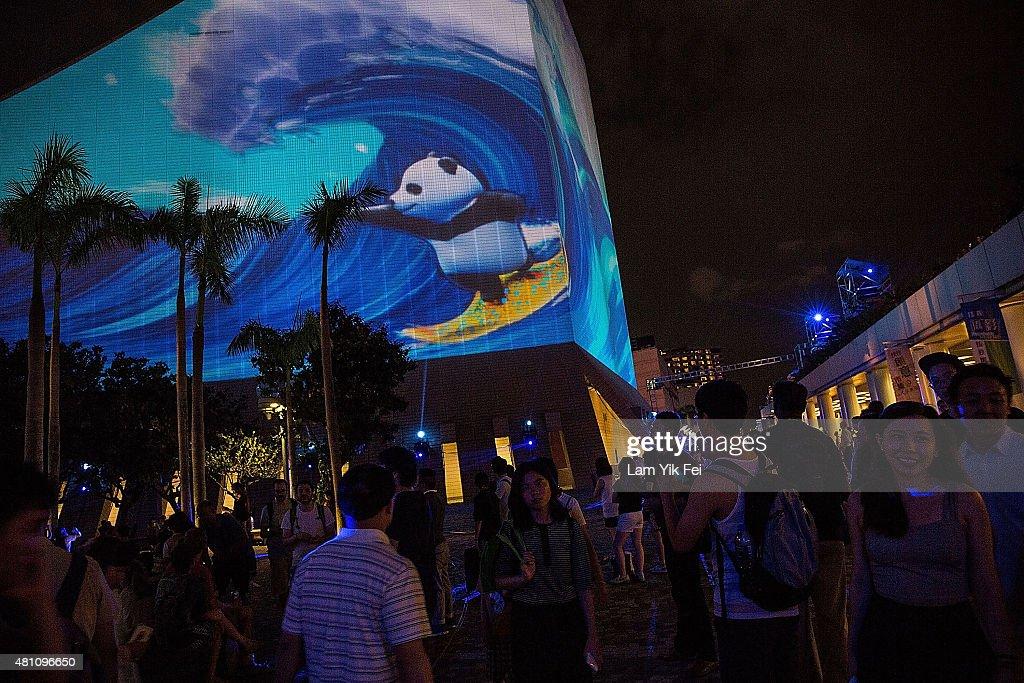 3D Light Show hong kong pulse 3d light show photos and images | getty images