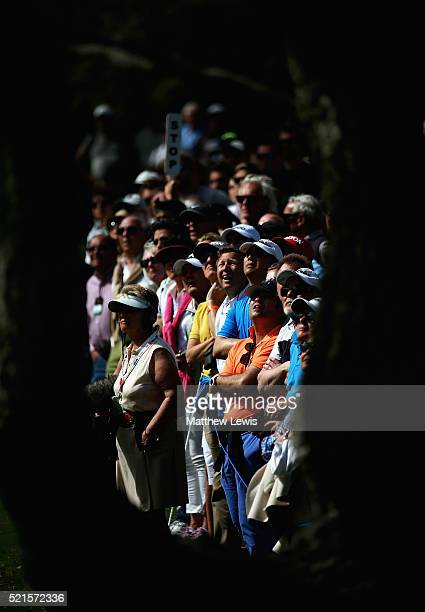 Spectators look on after Martin Kaymer of Germany plays a shot on the 18th hole during day three of the Open de Espana at Real Club Valderrama on...