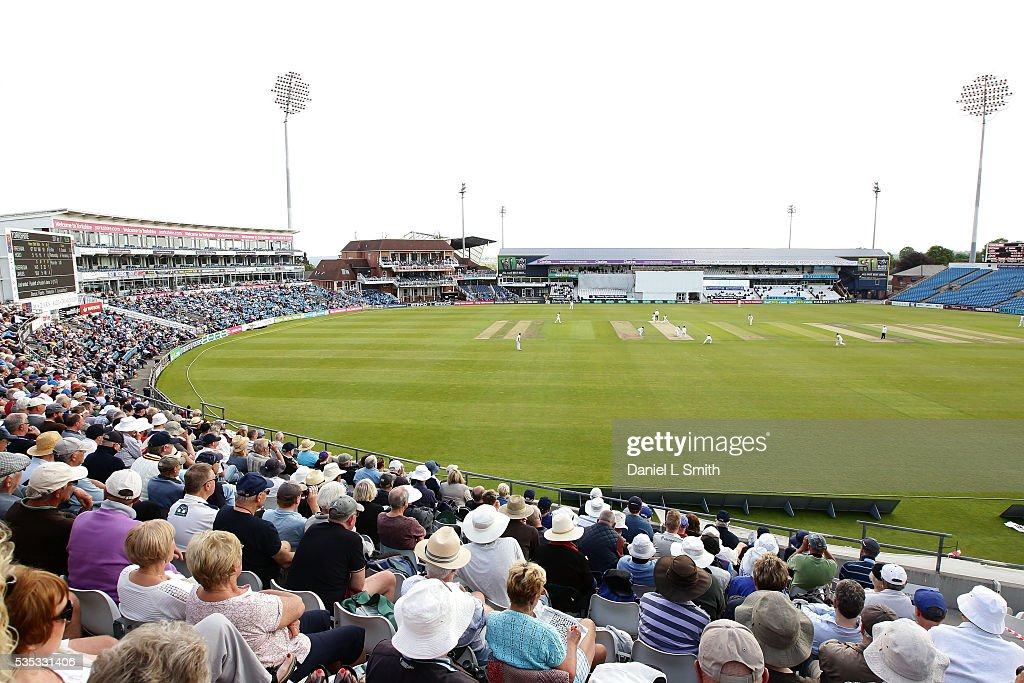 Spectators look on during day one of the Specsavers County Championship: Division One match between Yorkshire and Lancashire at Headingley on May 29, 2016 in Leeds, England.