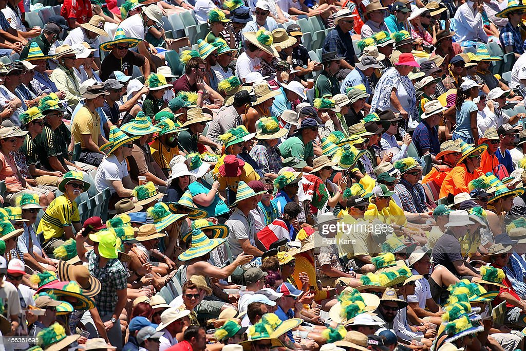 Spectators look on during day two of the Third Ashes Test Match between Australia and England at the WACA on December 14, 2013 in Perth, Australia.