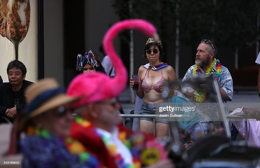 Spectators look on during the 2016 San Francisco Pride Parade on June 26, 2016 in San Francisco, California. Hundreds of thousands of people came out to watch the annual San Francisco Pride parade, one of the largest in the world.