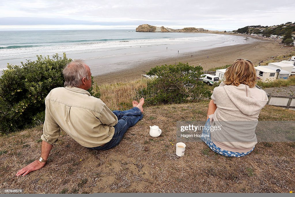 Spectators look on during the Castlepoint Beach Races at Castlepoint Beach on March 2, 2013 in Masterton, New Zealand.