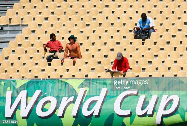 Spectators look on during the ICC Cricket World Cup Super Eights match between Australia and England at the Sir Vivian Richards Stadium on April 8...