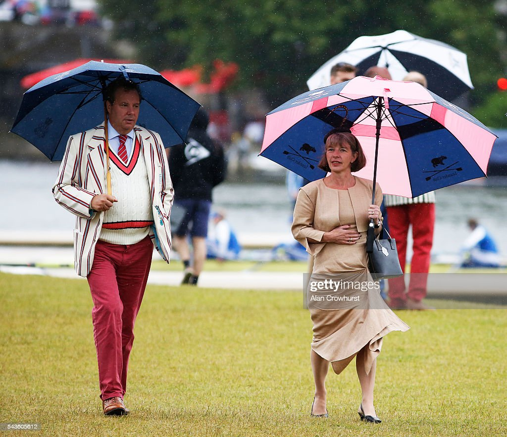 Spectators make their way to the members enclosure during the Henley Royal Regatta on June 29, 2016 in Henley-on-Thames, England.