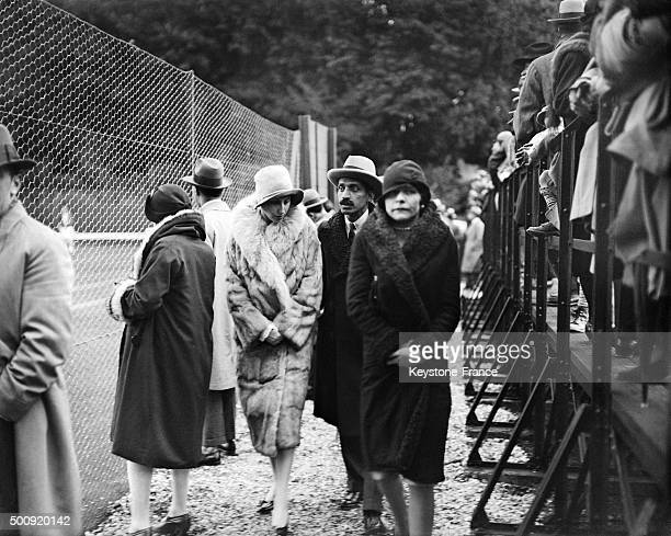 Spectators of the Tennis championship between France and the United Kingdom in the new Roland Garros stadium in 1928 in Paris France