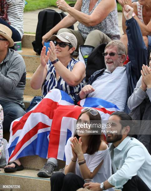 Spectators on Murray Mound after Andy Murray won his game against Alexander Bublik during day one of the Wimbledon Championships at the All England...