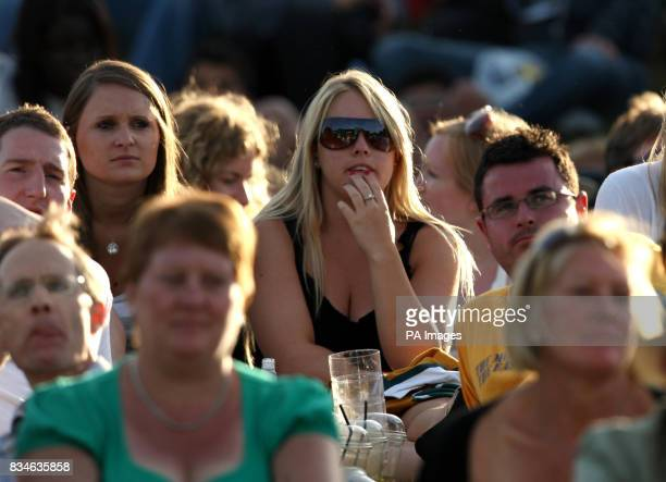 Spectators on Murray Mount watch anxiously as Great Britain's Andy Murray plays against France's Richard Gasquet during the Wimbledon Championships...