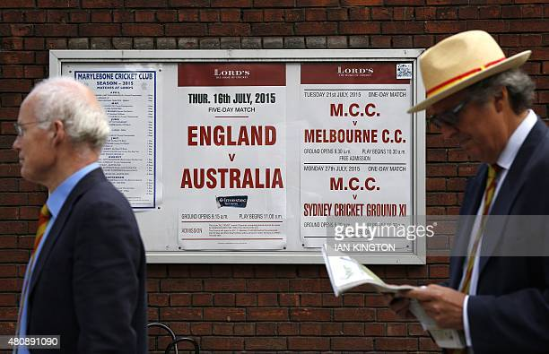 Spectators queue outside Lord's cricket ground on the first day of the second Ashes cricket test match between England and Australia in London on...