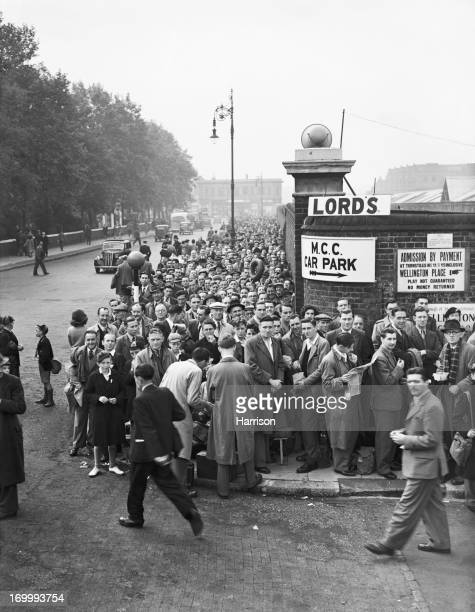 Spectators queuing outside Lord's Cricket Ground London during the 2nd Test between England and Australia 24th June 1948 Australia won the match by...