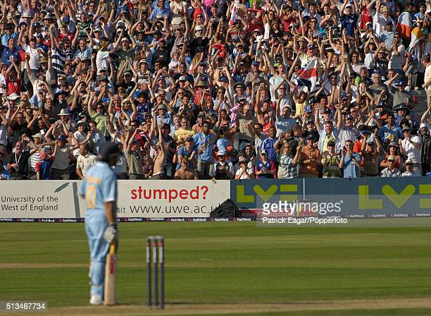 Spectators react as Sachin Tendulkar of India is out on 99 during the NatWest Series One Day International between England and India at Bristol 24th...