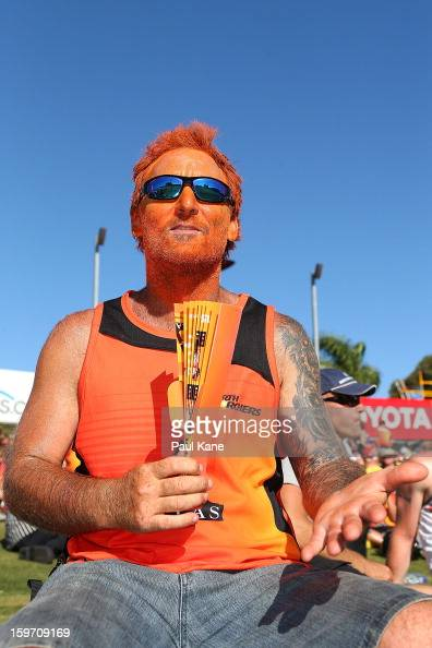 Spectators show theie support during the Big Bash League final match between the Perth Scorchers and the Brisbane Heat at the WACA on January 19 2013...