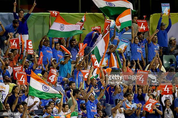 Spectators show their support during the 2015 ICC Cricket World Cup match between India and the West Indies at WACA on March 6 2015 in Perth Australia