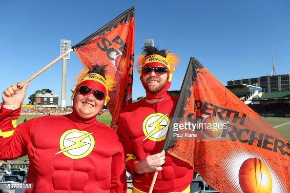 Spectators show their support during the Big Bash League final match between the Perth Scorchers and the Brisbane Heat at the WACA on January 19 2013...
