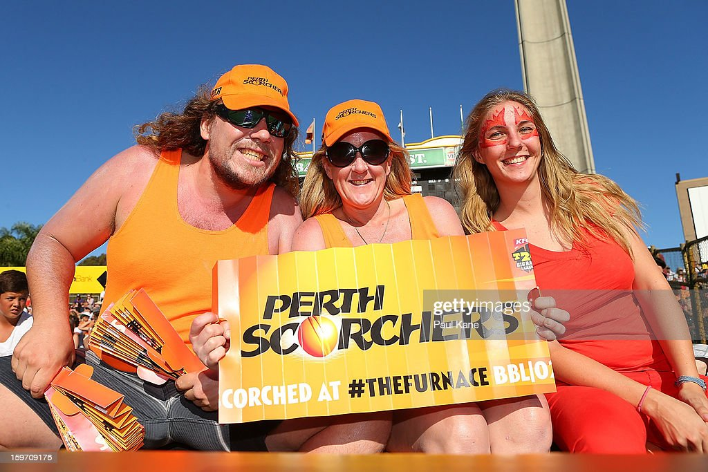 Spectators show their support during the Big Bash League final match between the Perth Scorchers and the Brisbane Heat at the WACA on January 19, 2013 in Perth, Australia.