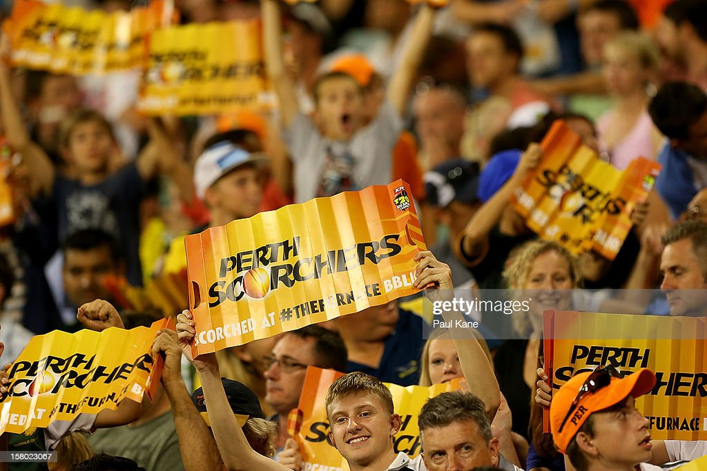 Spectators show their support during the Big Bash League match between the Perth Scorchers and Adelaide Strikers at WACA on December 9, 2012 in Perth, Australia.