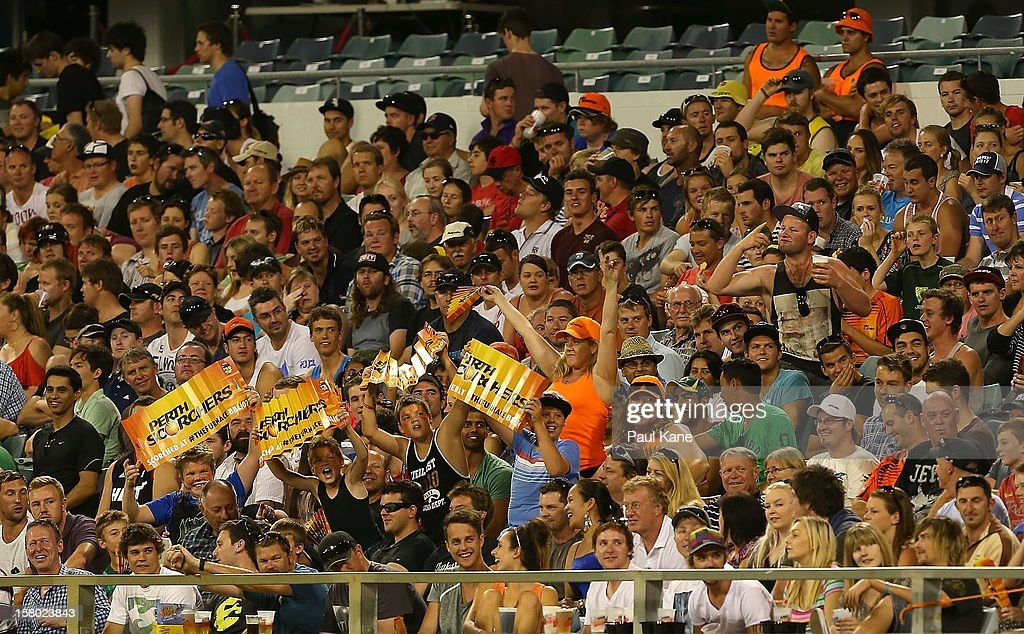 Spectators show their supports during the Big Bash League match between the Perth Scorchers and Adelaide Strikers at WACA on December 9, 2012 in Perth, Australia.