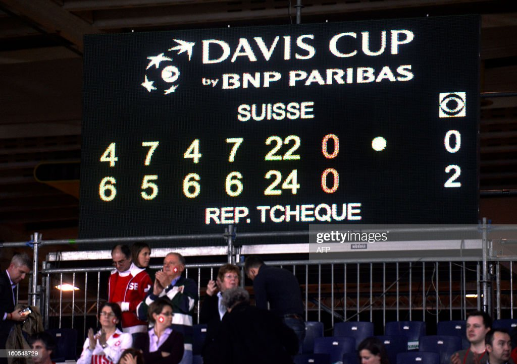 Spectators stand below the scoreboard bearing partial results of the longest Davis Cup rubber of all time in Geneva, on February 2, 2013. The Czech Republic's Tomas Berdych and Lukas Rosol defeated Stanislas Wawrinka and Marco Chiudinelli of Switzerland 6-4, 5-7, 6-4, 6-7 (3/7), 24-22. The result surpassed the previous record in the history of the tournament of the 6 hours 22 minutes it took John McEnroe to beat Mats Wilander 9-7, 6-2, 15-17, 3-6, 8-6 in the tie between the United States and Sweden in 1982. AFP PHOTO / SEBASTIEN FEVAL