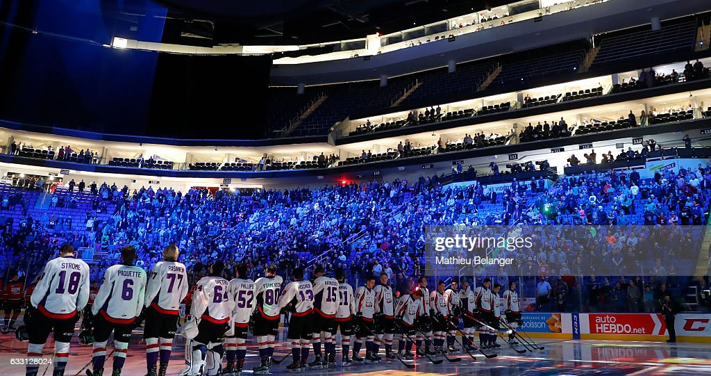 Spectators take a minute of silence for the people who died in the shooting of the Quebec Islamic Cultural Centre before the Sherwin-Williams CHL/NHL Top Prospects Game at the Videotron Center on January 30, 2017 in Quebec City, Quebec, Canada.