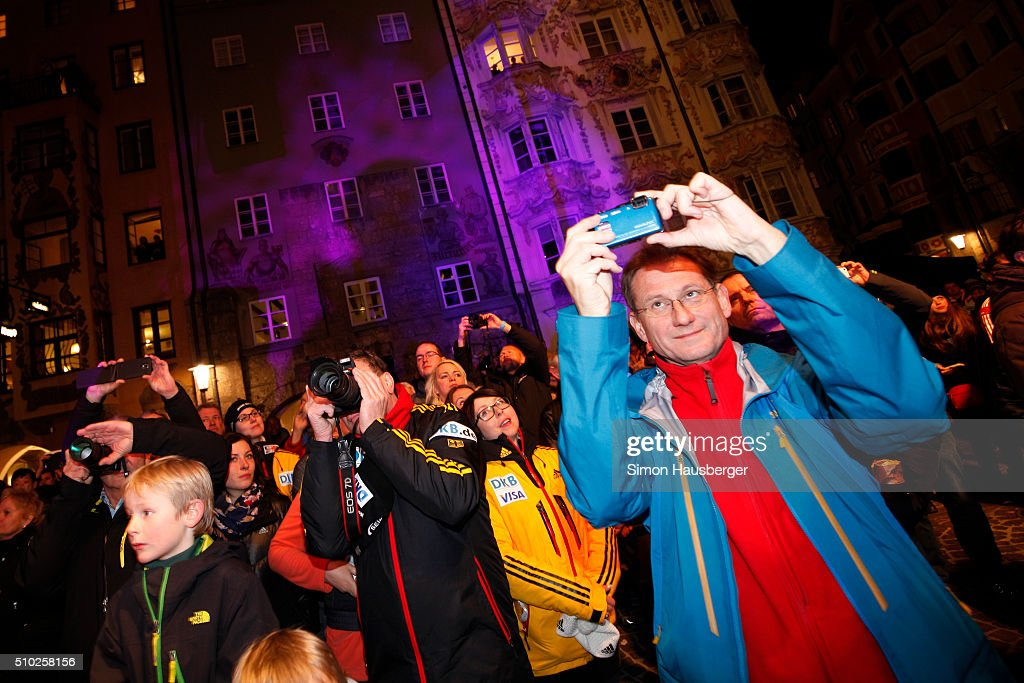 Spectators taking Photos during the award ceremony dat Day 3 of the IBSF World Championships for Bob and Skeleton at Olympiabobbahn Igls on February 14, 2016 in Innsbruck, Austria.