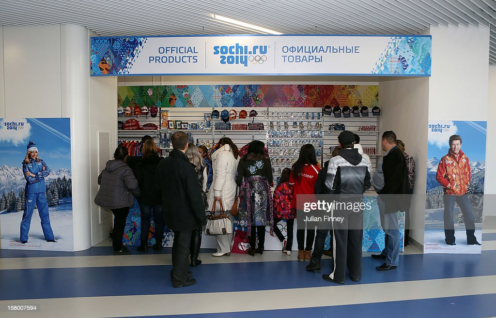Spectators visit the merchandise shop during the Grand Prix of Figure Skating Final 2012 at the Iceberg Skating Palace on December 8, 2012 in Sochi, Russia.