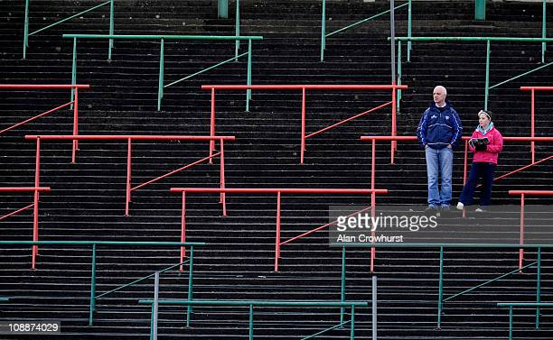 Spectators wait for the start of The Allianz GAA National Football League match between Laois and Meath at O'Moore Park on February 06 2011 in...