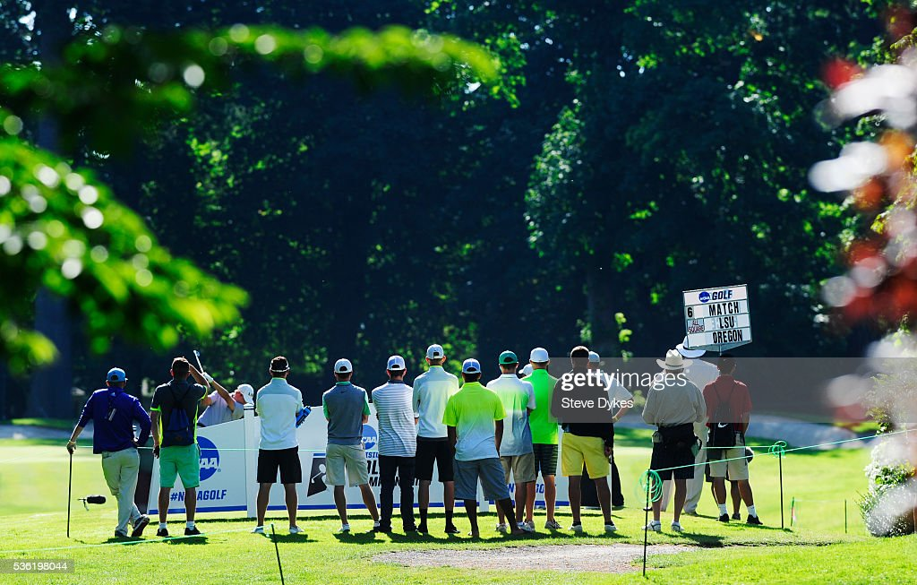 Spectators watch a competitor tee off on the third hole during round three of the 2016 NCAA Division I Men's Golf Championship at Eugene Country Club on May 31, 2016 in Eugene, Oregon.