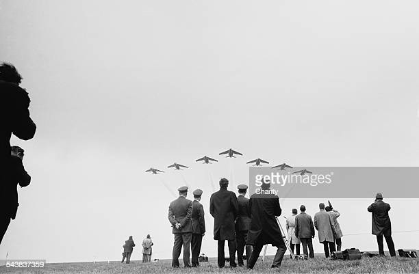 Spectators watch a display from the Red Arrows 27th April 1967