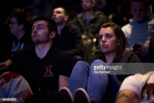 Spectators watch a qualifying match at the 2015 Call of Duty European Championships at The Royal Opera House on March 1 2015 in London England The...