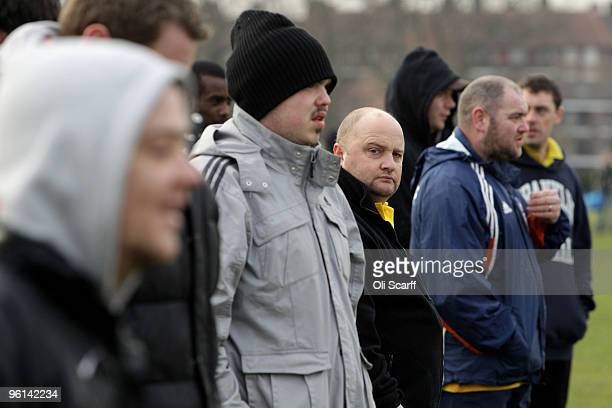 Spectators watch a Sunday League football match being played on the Hackney Marshes' pitches on January 24 2010 in London England Hackney Marshes is...