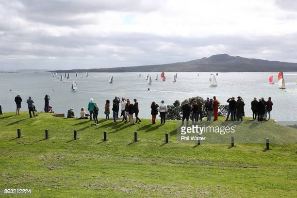 Spectators watch as the fleet leaves Auckland Harbour and through the Rangitoto channel at the start of the Coastal Classic on October 20 2017 in...