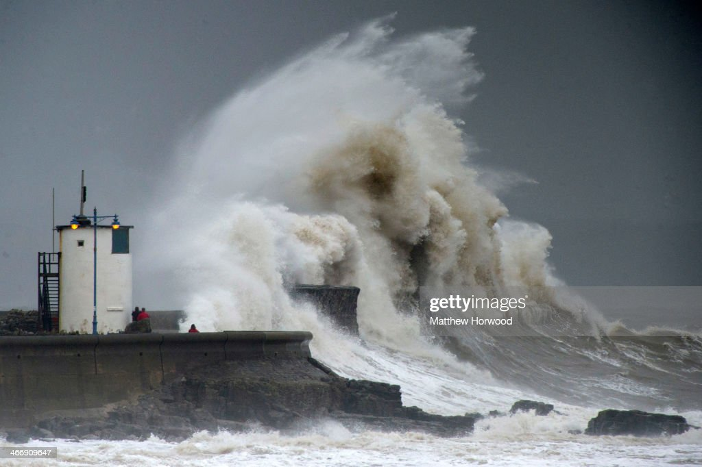 Porthcawl United Kingdom  city pictures gallery : during a high tide on February 5, 2014 in Porthcawl, United Kingdom ...