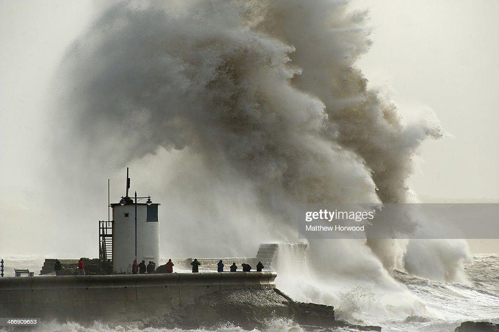 Porthcawl United Kingdom  city photos gallery : during a high tide on February 5, 2014 in Porthcawl, United Kingdom ...
