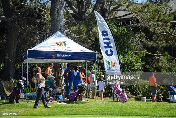 Spectators watch competition at The Drive Chip and Putt Regional Championships at Torrey Pines Golf Course on September 19 2015 in La Jolla California