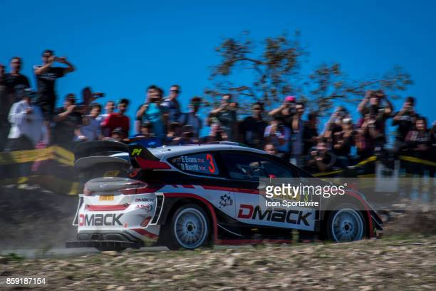 Spectators watch Elfyn Evans and codriver Daniel Barrit of MSport during second run of the Savalla Stage of the Rally de Espana round of the 2017 FIA...