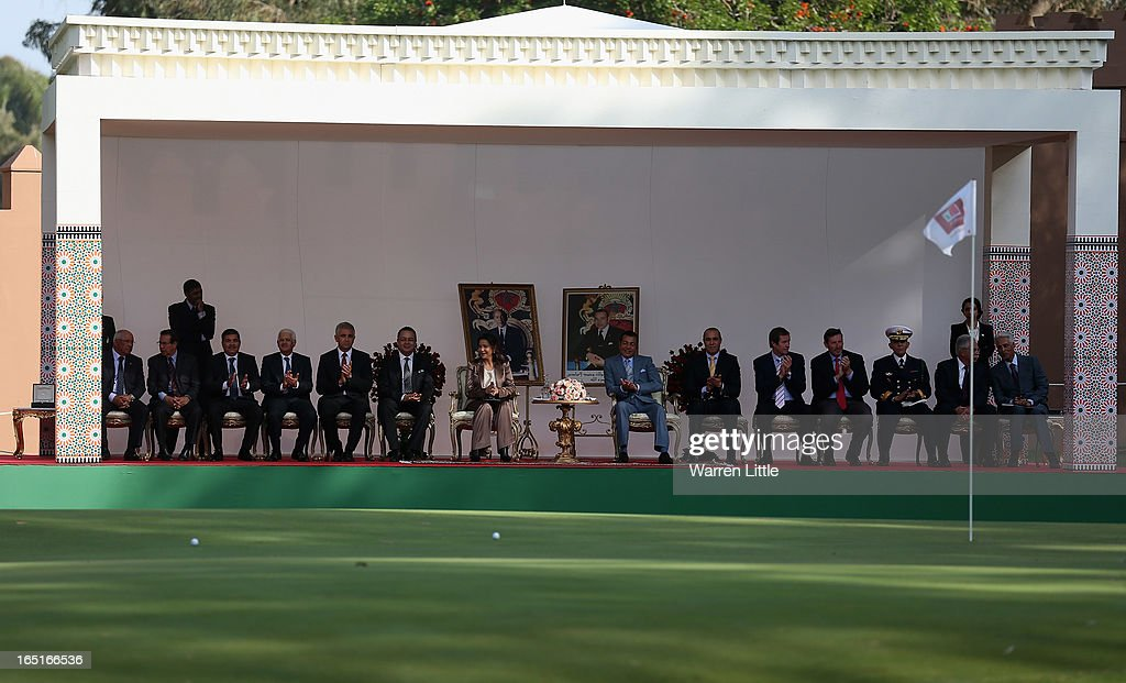 Spectators watch on from the royal box during the final round of the Trophee du Hassan II Golf at Golf du Palais Royal on March 31, 2013 in Agadir, Morocco.
