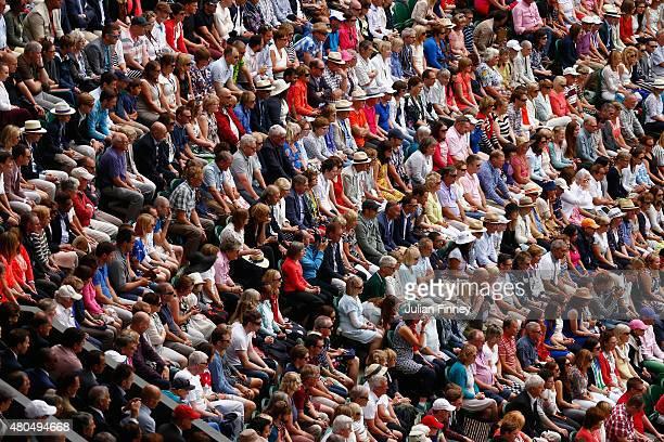 Spectators watch Roger Federer of Switzerland in the Final Of The Gentlemen's Singles against Novak Djokovic of Serbia on day thirteen of the...