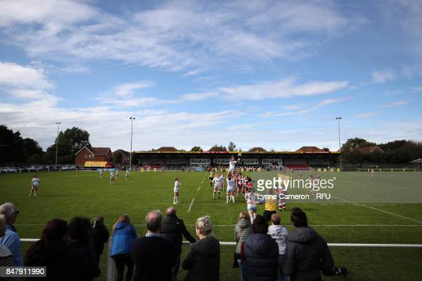 Spectators watch the action between Saracens Women and Firwood Waterloo Ladies during the Tyrrells Premier 15 at The Memorial Ground on September 16...
