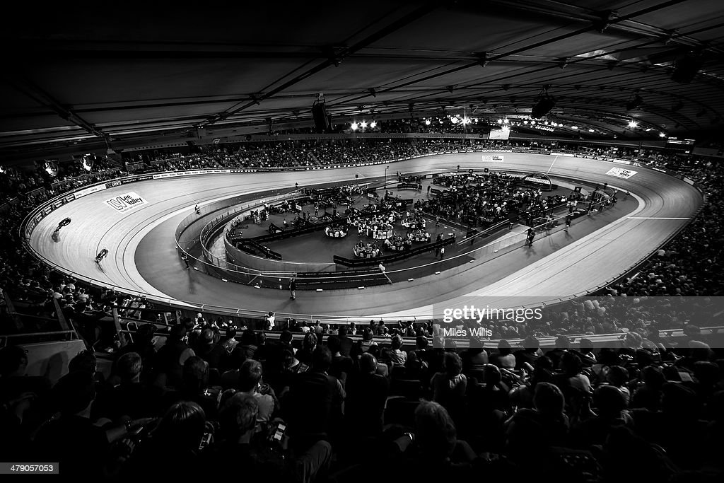 Spectators watch the action during Revolution 5 at the Lee Valley VeloPark March 15, 2014 in London, England.