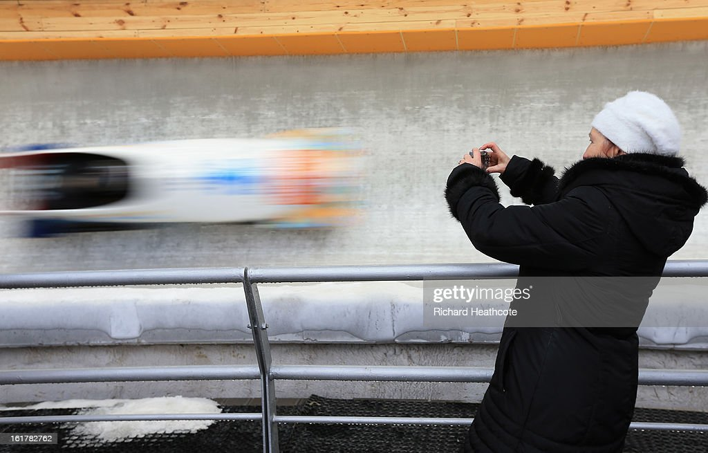Spectators watch the action during the Viessman FIBT Bob & Skeleton World Cup at the Sanki Sliding Center in Krasnya Polyana on February 16, 2013 in Sochi, Russia. Sochi is preparing for the 2014 Winter Olympics with test events across the venues.