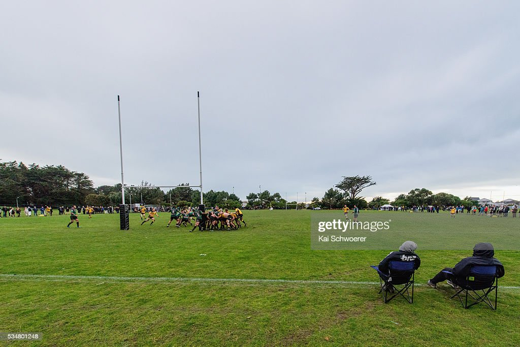 Spectators watch the action right behind the dead-ball-line during the match between New Brighton RFC and Linwood RC on May 28, 2016 in Christchurch, New Zealand.