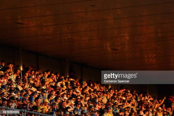 Spectators watch the acttion during the round 10 NRL match between the Parramatta Eels and the St George Illawarra Dragons at Pirtek Stadium on May...
