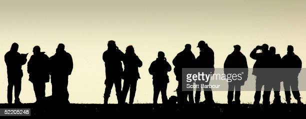 Spectators watch the last Waterloo Cup hare coursing event on February 16 2005 in Great Altcar England Coursing is one of the world's oldest field...