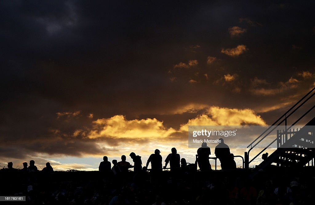 Spectators watch the stand during the NRL trial match between the Wests Tigers and the Parramatta Eels at Campbelltown Sports Stadium on February 16, 2013 in Sydney, Australia.