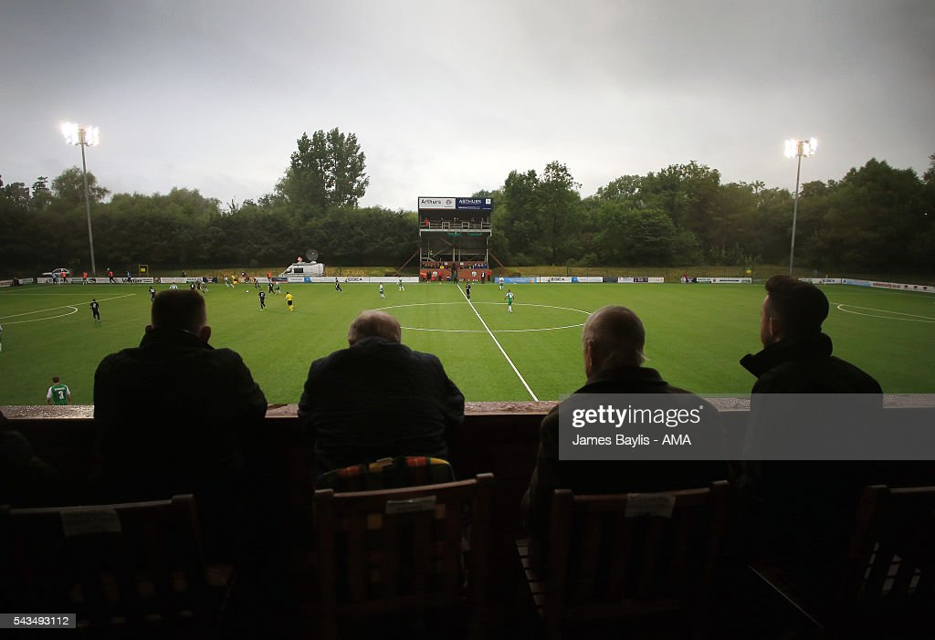 Spectators watch the UEFA Champions League First Round Qualifier match between The New Saints and SP Tre Penne at Park Hall on June 28, 2016 in Oswestry, England.