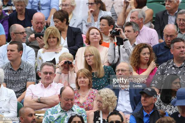 Spectators watching Garbine Muguruza of Spain in action against Venus Williams of The United States in the Wimbledon Lawn Tennis Championships at the...